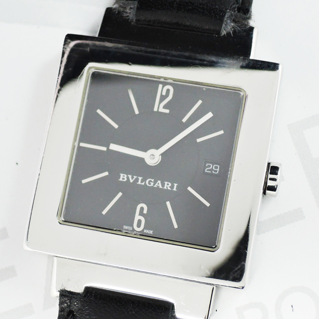 pretty nice 2f001 6f1e1 □ブルガリ BVLGARI クアドラード SQ29SSD 黒文字盤 メンズ ...